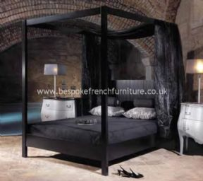 Elegant Four Poster Bed in Satin Black